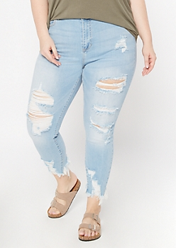 Plus Cello Light Wash Frayed Skinny Jeans
