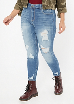 Plus Cello Medium Wash Distressed Jeggings