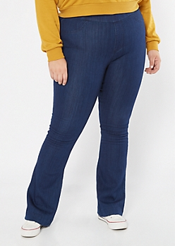 Plus Cello Dark Wash Pull On Flare Jeans
