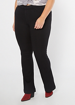 Plus Cello Black Pull On Flare Jeans