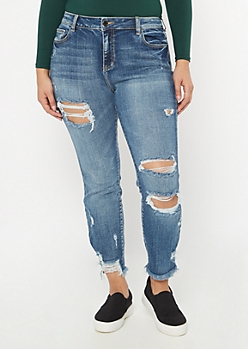 Plus Cello Medium Wash Distressed Hem Skinny Jeans