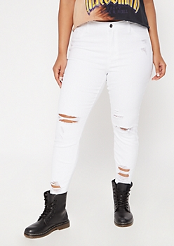 Plus Cello White Distressed High Waisted Skinny Jeans