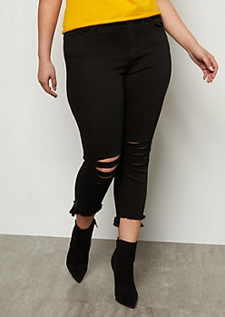 Plus Black Mid Rise Raw Cut High Low Skinny Ankle Jeans