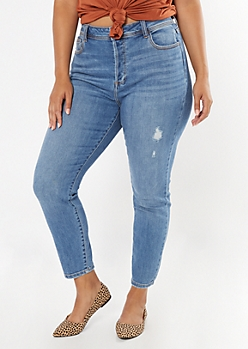 Plus Medium Wash Frayed Skinny Jeans