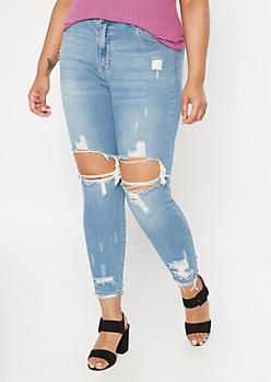 Plus Medium Wash Blown Knee Jeggings