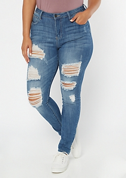 Plus Cello Medium Wash Ripped Jeggings