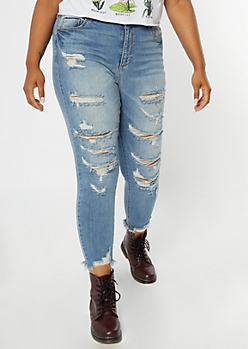 Plus Cello Medium Wash Destroyed Cropped Jeggings