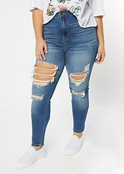 Plus Cello Medium Wash Destructed High Waisted Jeggings