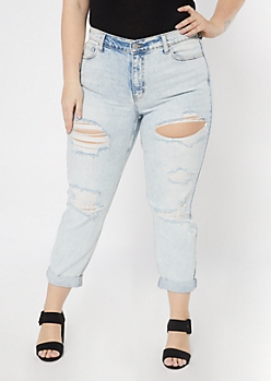 Plus Cello Light Wash Distressed Rolled Mom Jeans