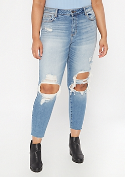 Plus Cello Medium Wash Blown Knee Skinny Mom Jeans