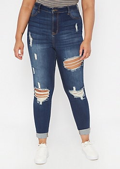 Plus Cello Dark Wash Distressed Skinny Jeans