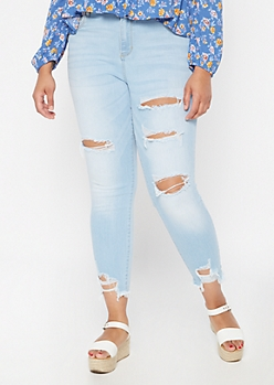 Plus Cello Light Wash Raw Cut Cropped Skinny Jeans