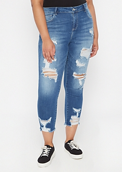 Plus Cello Dark Wash Raw Cut Cropped Skinny Jeans
