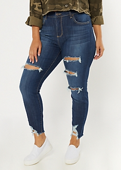 Plus Dark Wash Distressed Ankle Jeggings