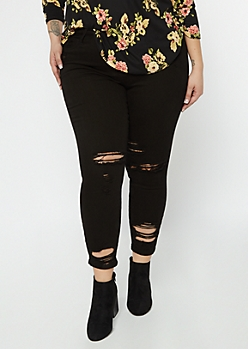 Plus Cello Black Ripped High Waisted Skinny Jeans