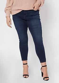 Plus Dark Wash High Waisted Skinny Jeans