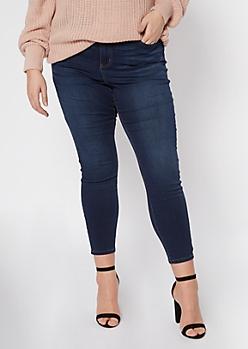 Plus Dark Wash High Waisted Skinny Jeans