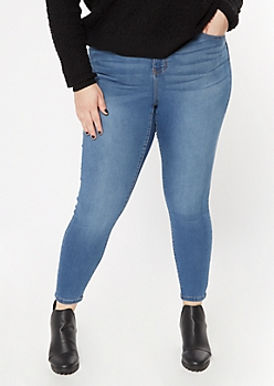 Plus Medium Wash Back Seamed Skinny Jeans