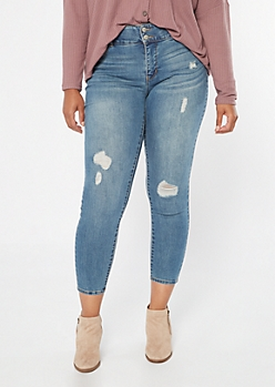 Plus Medium Wash High Waisted Ripped Booty Jeans