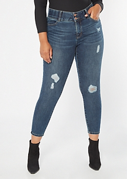 Plus Dark Wash High Waisted Ripped Booty Jeans