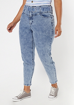 Plus Light Acid Wash Paperbag Waist Skinny Jeans