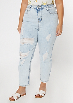 Plus Acid Wash High Waist Ripped Straight Jeans