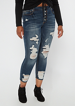 Plus Recycled Dark Wash Ripped Button Front Jeggings