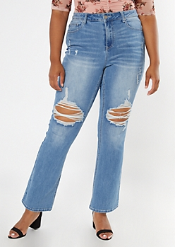 Plus Recycled Light Wash Ripped Knee Flare Jeans