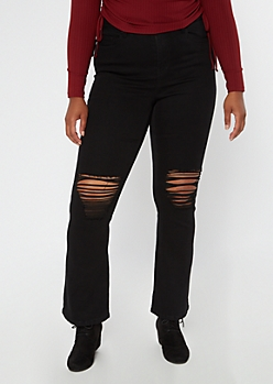 Plus Recycled Black Ripped Knee Flare Jeans