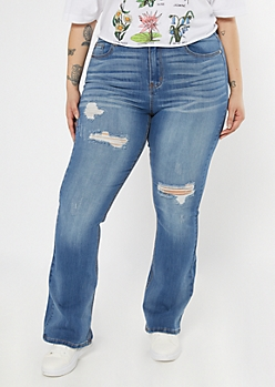 Plus Recycled Medium Wash Ripped Flare Jeans