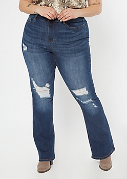 Plus Recycled Dark Wash Ripped Flare Jeans