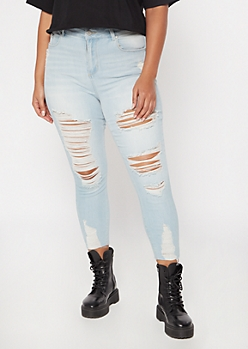 Plus Recycled Light Wash Raw Cut Skinny Jeans