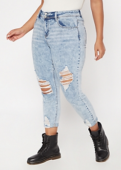 Plus Recycled Light Wash Rolled Distressed Jeggings