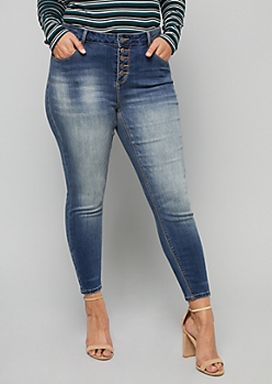 Plus Dark Wash Five Button Skinny Ankle Jeans