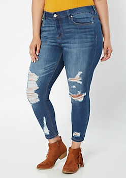 Plus Recycled Medium Wash Distressed Ankle Jeggings