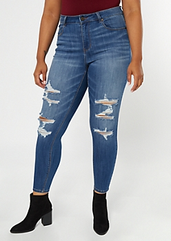 Plus Recycled Dark Wash Ripped Curvy Jeans