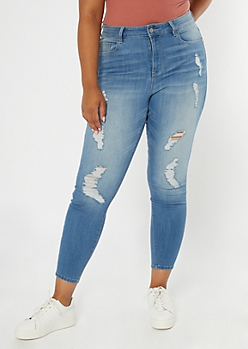 Plus Recycled Medium Wash Ripped Curvy Jeans