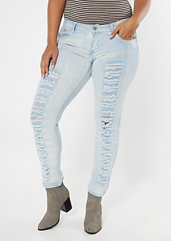 Plus Light Wash Destructed Skinny Jeans