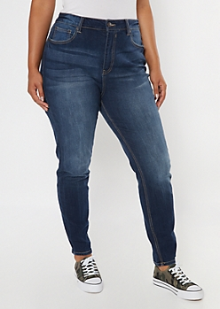 Plus Dark Wash Mid Rise Cuffed Skinny Jeans
