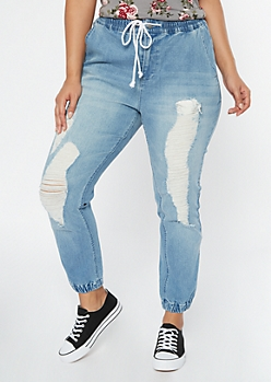 Plus Medium Wash Ripped Jogger Jeans