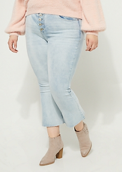 Plus Light Wash Button Front Cropped Flare Jeans