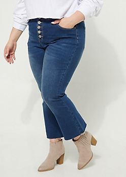 Plus Dark Wash Button Front Cropped Flare Jeans