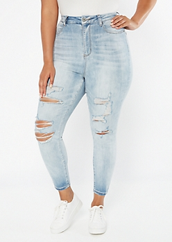 Plus Light Wash Extra High Waisted Ripped Curvy Ankle Jeans