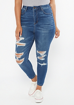 Plus Dark Wash Extra High Waisted Ripped Curvy Ankle Jeans