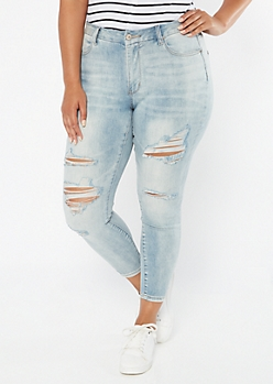 Plus Light Wash Sandblasted Ripped Curvy Ankle Jeans