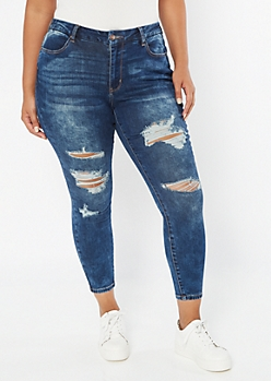 Plus Dark Wash Sandblasted Ripped Curvy Ankle Jeans