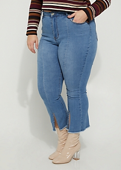 Plus Split Flare High Rise Jeans in Regular