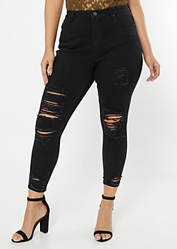Plus Black High Waisted Ripped Curvy Jeggings