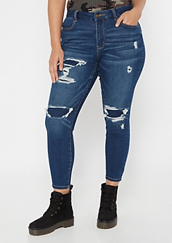 Plus Ultimate Stretch Ripped and Repaired Curvy Jeggings