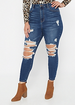 Plus Dark Wash Destructed Curvy Jeggings